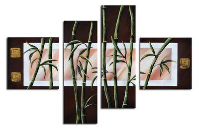 Bambus M1 - Leinwandbild 4 teilig 100x70cm Handgemalt – Bild 2