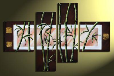 Bambus M1 - Leinwandbild 4 teilig 100x70cm Handgemalt – Bild 3
