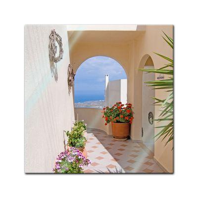 Glasbild - Santorini Tor 20x20 cm