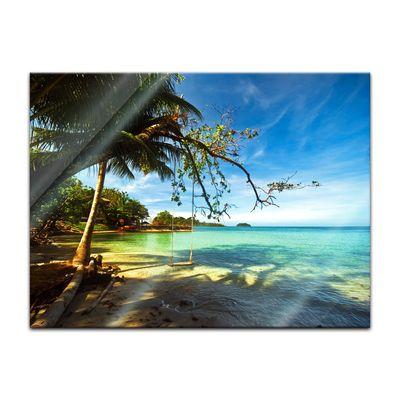 Glasbild - Tropical beach under blue sky - Thailand 80x60 cm – Bild 1