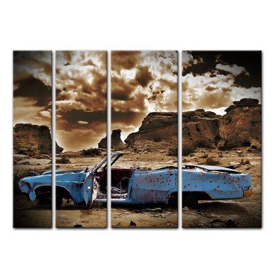 Leinwandbild - Cadillac - blau sepia – Bild 6