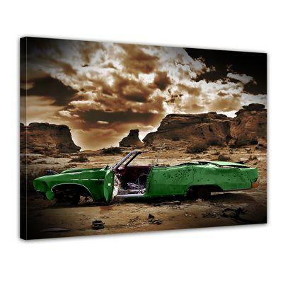 Leinwandbild - Cadillac - grün sepia