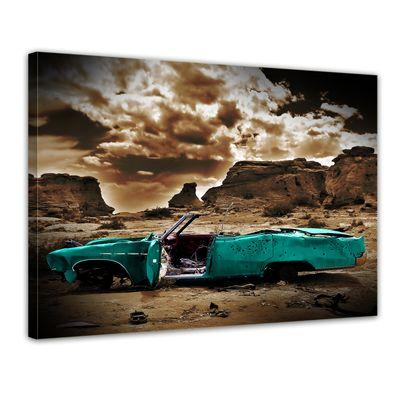 Leinwandbild - Cadillac - türkis sepia – Bild 1