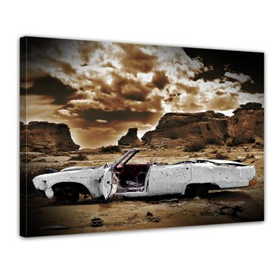 Leinwandbild - Cadillac - weiß sepia – Bild 1