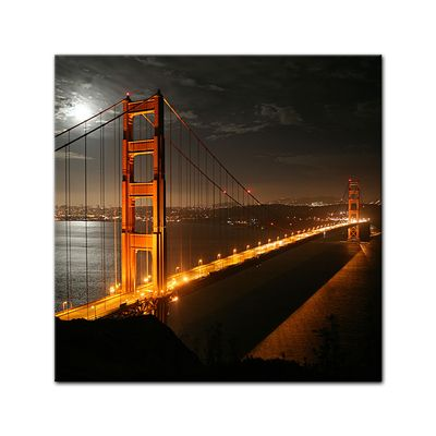 SALE Leinwandbild - Golden Gate Bridge bei Nacht (Vollmond) - 60x60 cm – Bild 2