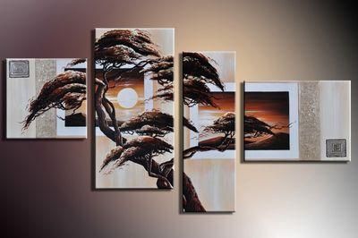 SALE Baum M5 - Leinwandbild 4 teilig 120x70cm Handgemalt – Bild 3