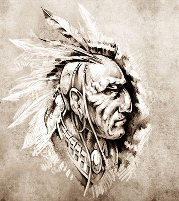 Fototapete Indianer II - Tattoo Art  – Bild 4
