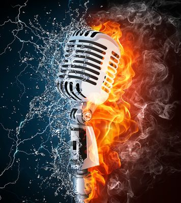 Fototapete Microphone on Fire and Water  – Bild 2