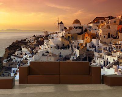 Fototapete Santorini im Abendrot - Griechenland