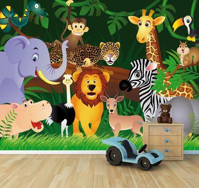 Fototapete Kindertapete Wilde Tiere im Dschungel - Cartoon