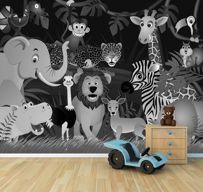 Fototapete Kindertapete Wilde Tiere im Dschungel - Cartoon  – Bild 5