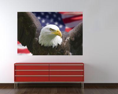 Fototapete American Eagle mit Flagge  – Bild 1