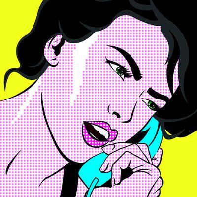 Fototapete Pop art Girl with Phone  – Bild 2