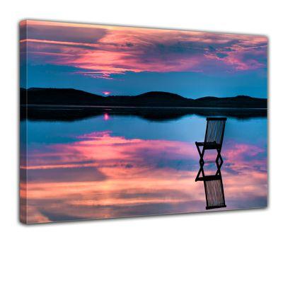 Leinwandbild Sonnenuntergang über dem See  – Bild 1