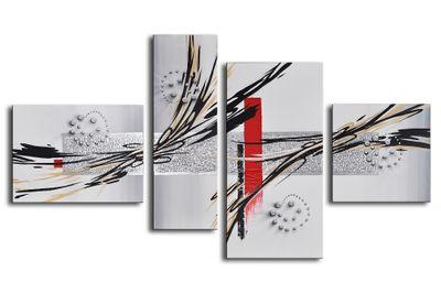 Abstrakte Kunst handgemaltes Leinwandbild 120x70cm 4 teilig 3026 – Bild 2