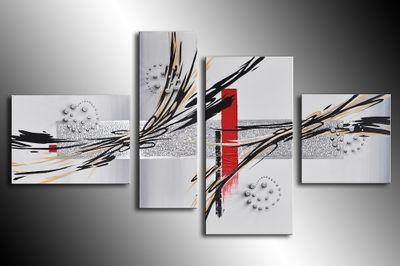 Abstrakte Kunst handgemaltes Leinwandbild 120x70cm 4 teilig 3026 – Bild 3