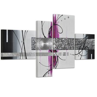 Abstrakte Kunst handgemaltes Leinwandbild 120x70cm 4 teilig 3027 – Bild 1
