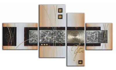 Abstrakte Kunst handgemaltes Leinwandbild 120x70cm 4 teilig 3028 – Bild 2
