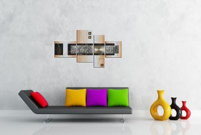 Abstrakte Kunst handgemaltes Leinwandbild 120x70cm 4 teilig 3028 – Bild 4