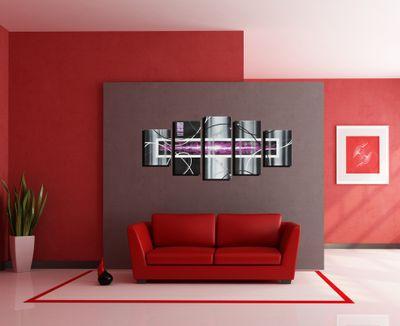 Abstrakte Kunst handgemaltes Leinwandbild 150x70cm 4 teilig 646 – Bild 4