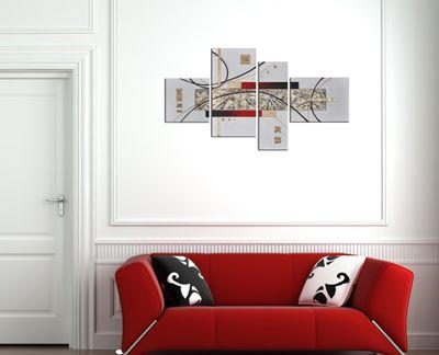 Abstrakte Kunst handgemaltes Leinwandbild 120x70cm 4 teilig 3031 – Bild 4
