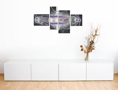 Abstrakte Kunst handgemaltes Leinwandbild 120x70cm 4 teilig 3033 – Bild 4