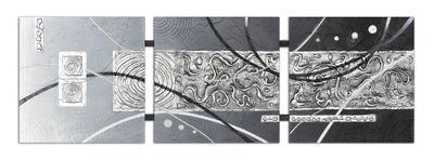 Abstrakte Kunst handgemaltes Wandbild 104x33cm - 3D Struktur - TR01 – Bild 2