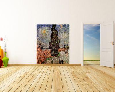 Fototapete Vincent van Gogh - Alte Meister - Zypressenweg unter dem Sternenhimmel