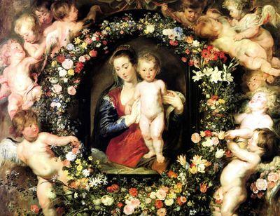 Fototapete Peter Paul Rubens - Alte Meister - Madonna im Blumenkranz – Bild 2