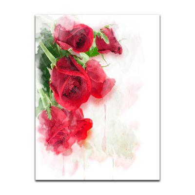 Leinwandbild - Rote Rosen Digitalzeichnung – Bild 7