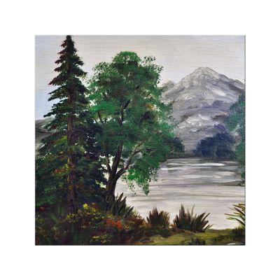 Leinwandbild - Reproduktion - Bäume an einem Bergsee – Bild 2
