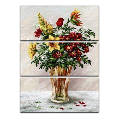Leinwandbild - Blumenstrauß in einer Glasvase – Bild 3