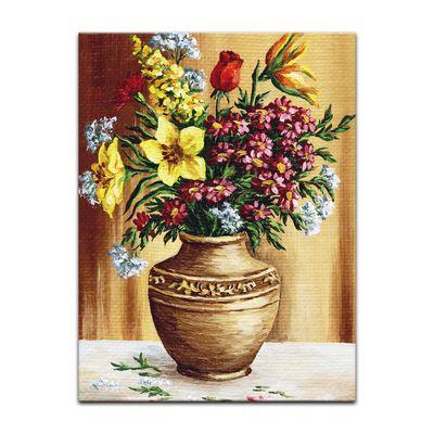 Leinwandbild - Gartenblumen in Steinvase – Bild 2