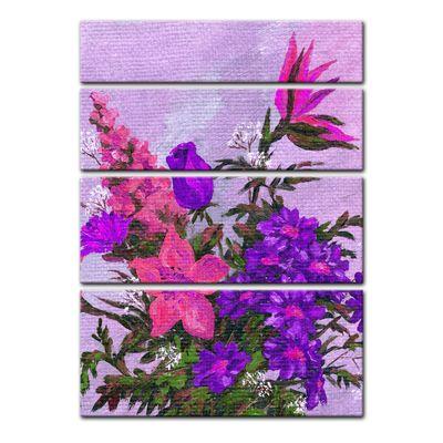 Leinwandbild - Lila Blumenstrauß – Bild 4