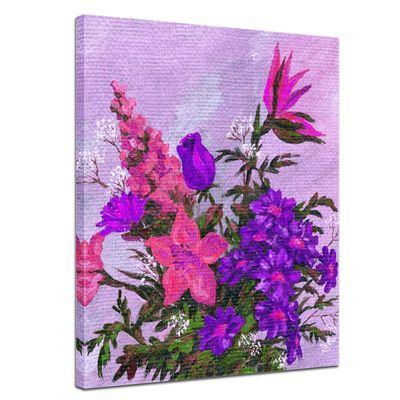 Leinwandbild - Lila Blumenstrauß – Bild 1