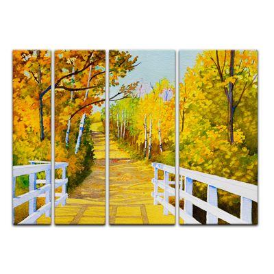 Leinwandbild - Reproduktion Aquarell - Waldweg im Herbst – Bild 13