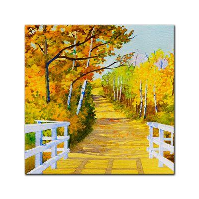 Leinwandbild - Reproduktion Aquarell - Waldweg im Herbst – Bild 2