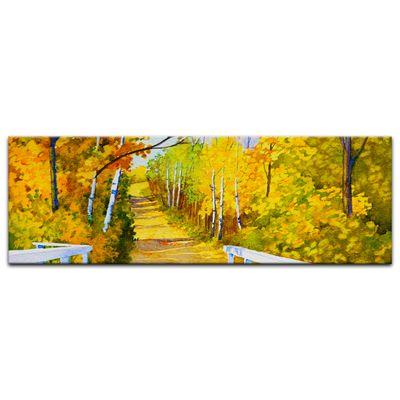 Leinwandbild - Reproduktion Aquarell - Waldweg im Herbst – Bild 5