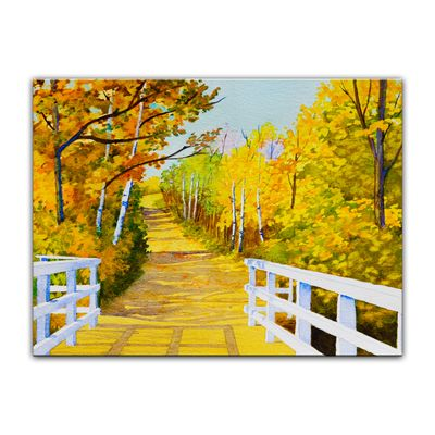 Leinwandbild - Reproduktion Aquarell - Waldweg im Herbst – Bild 4