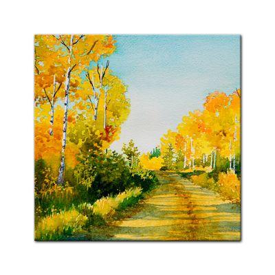 Leinwandbild - Reproduktion Aquarell - Waldweg im Herbst II – Bild 2