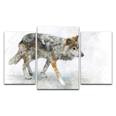 Leinwandbild Reproduktion Aquarell - Wolf – Bild 4