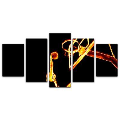 Leinwandbild - Basketball Slam Dunk Feuer  – Bild 12