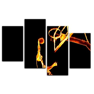 Leinwandbild - Basketball Slam Dunk Feuer  – Bild 14