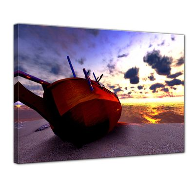 Leinwandbild - Boot am Strand – Bild 1