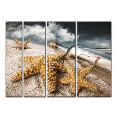 Leinwandbild - Flaschenpost mit Seesternen – Bild 12