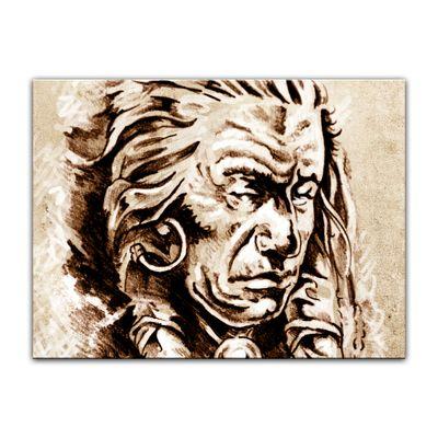 Leinwandbild - Indianer V, Tattoo Art  – Bild 5