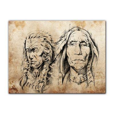 Leinwandbild - Indianer VI, Tattoo Art  – Bild 2