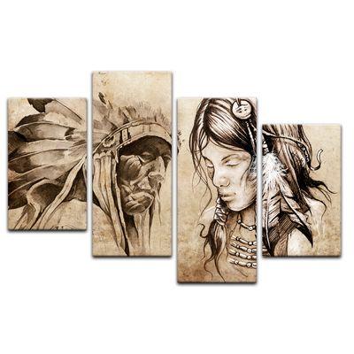 Leinwandbild - Indianer VIII, Tattoo Art  – Bild 12