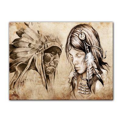 Leinwandbild - Indianer VIII, Tattoo Art  – Bild 3