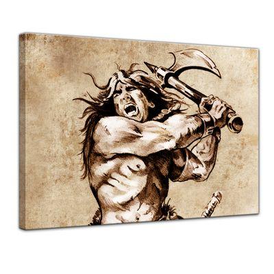 Leinwandbild - Krieger, Tattoo Art  – Bild 1